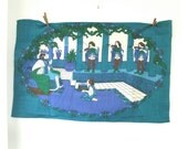 Old King Cole nursery rhyme vintage souvenir tea towel - kitchen linen blue green