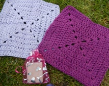 set of 2 lovely crocheted cotton wash cloths, face cloths lilac and purple with ylang ylang homemade soap