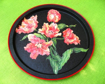 red round vintage cocktail serving tray platter floral flower