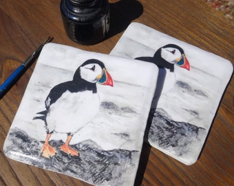 Puffin Coaster - Puffin gift - hand crafted puffin gift - ceramic puffin coaster - set of coasters