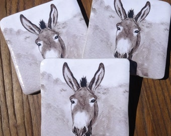 Donkey coaster - high quality  donkey gift - donkey art - Ormer the Guernsey Donkey - Donkey art, single or set of handmade ceramic coasters