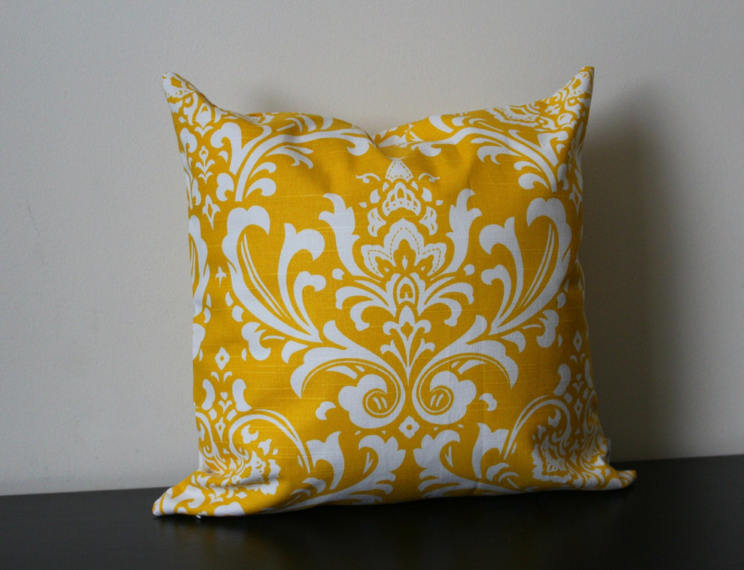 Decorative Throw Pillow Cover Yellow and White Damask
