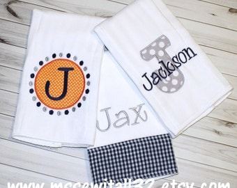 Set of 3 Personalized Burp Cloths (You Pick Color Combo)