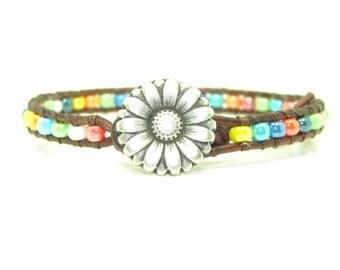 MultiColored Seed Bead Leather Wrap Bracelet, Single Wrap, Boho, Rainbow Colored Wrap, Beaded Bracelet