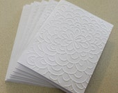 Modern flower card set, set of eight embossed cards in white, birthday card set, thank you, blank card set, sympathy, thinking of you cards