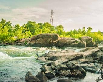 James River Shoreline View Photo Richmond Va , Blue Heron Landscape Photo Art, Framed Photography Option