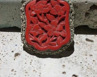 Vintage Cinnabar Pendant Carved Cinnabar Jewelry Finding