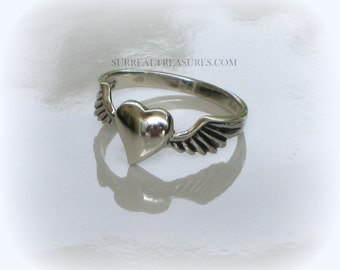 HEART with WINGS RING - Sterling silver -  The heart with wings symbolize love -   # HWWR005715