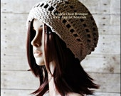 Crochet Cotton SLOUCHY Beanie hat - Summer Beanie Preteen to Adult Sizes - Handmade by Angel Chest Boutique