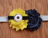 Minion, Despicable Me Inspired Shabby Chic Headband - Minion Headband