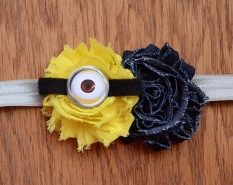 Minion, Despicable Me Inspired Shabby Chic Headband - Minion Headband
