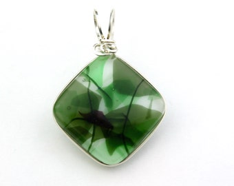 Fused Glass Sterling Silver Wire Wrapped Pendant, Green and White Abstract Pattern