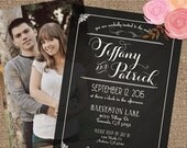 Black & White Wedding Invitation Set, Photo Back, Decorative Chalkboard Type - Printable DIY