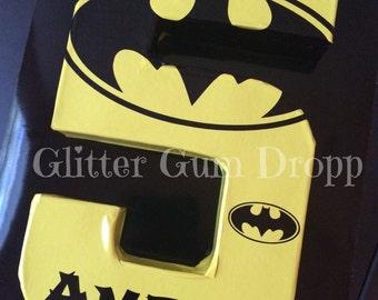 Batman DC Comics Superhero Lego Personlized Birthday Number or Letter Custom Colors