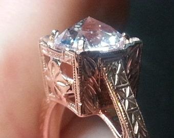 Antique Rose Cut Engagement Ring - Rose Gold Engagement Ring - Antique Ring - Art Deco Engagement Ring