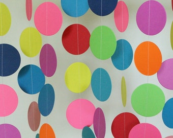 Children's Birthday Garland, Bright Colors Party Decorations, Birthday Decor, Toddler Birthday, Random Colorful Paper Circle Garland, 10 ft.