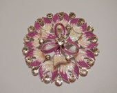 Lavender and Cream Enamel Magnetic Brooch with Acrylic Rhinestones Pageant Sash Pin on White