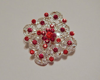 Red Magnetic Brooch with Acrylic Rhinestones Pageant Sash Pin or Portuguese Knitting Pin in Silver