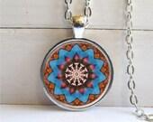 Mandala Necklace, Meditation Jewelry, Mandala Pendant, Vibrant Mandala