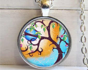 Tree Pendant, Whimsical Tree Art Pendant, Silver Charm Necklace, Tree Jewelry