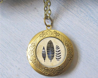 Photo Locket, Bohemian Jewelry, Feather Necklace, Tribal Feather Locket