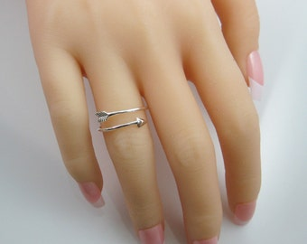 Sterling Silver Ring - 925 Sterling Silver Arrow Ring -Thumb Ring - Knuckle Ring- Any Finger Ring - Arrow - Adjustable Ring - Sku: 701002
