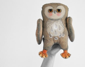 owl - primitive doll, exclusive painted doll - soft sculpture. art doll.