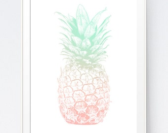 Mint Coral Pineapple Print, Pineapple Art, Coral and Mint, Wall Art, Wall Print, Pineapple Wall Art, Pineapple Wall Print, Summer Print