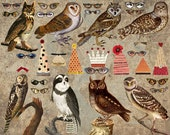 8 Vintage Wise OWL Paper DOLLS -  INSTANT Printable Digital Sheet