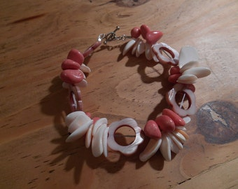 925 Sterling Silver Two Strand Natural Semi-precious Pink Coral White Mother of Pearl and Hollow Flower shell Beaded Bracelet