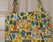 Teacher Appreciation, Teacher Tote Bag, Quilted Tote Bag, Satchel, Utility Bag with Lining
