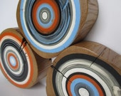 Tree Rings Blue Orange gray hand painted wall decor made from reclaimed barn wood - Set of 3 (TRBOG3)
