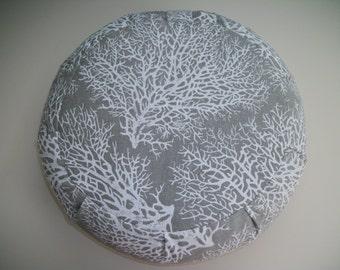 Meditation Cushion. Zafu. Floor Pillow. Driftwood Coral. Cotton Duck print. Buckwheat Hull filled. Sidewall Zipper. Handmade, USA