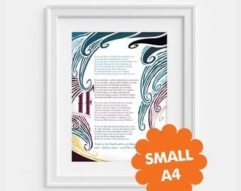 Rudyard Kipling, If  small poem poster - A4 (8,27 x 11,7)