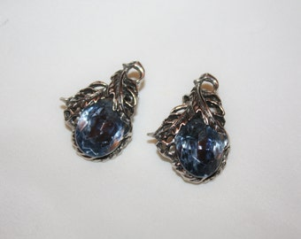 Vintage Blue Rhinestone Earrings Clip On 1950s Estate  Jewelry