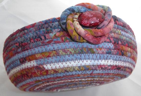 Handmade Fabric Basket Pattern : Handmade coiled fabric basket bowl rope