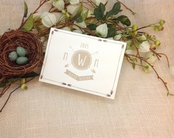 A6 Trifold Arrow Monogram Rustic Camping Wedding Invitation: Get started deposit or DIY Payment