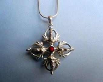 Tibetan Vishvavajra silver pendant