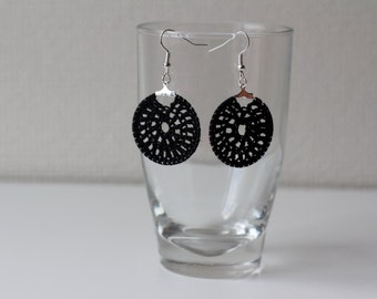 Hand crocheted black coton earrings