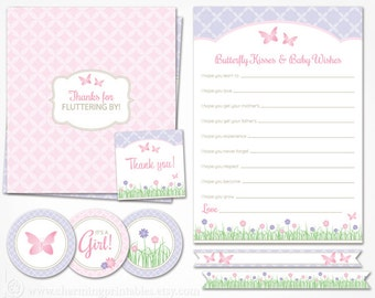 Butterfly Baby Shower Decorations - INSTANT DOWNLOAD Printable Package - It's a Girl - Flower Garden Spring Pink and Purple Baby Shower Girl
