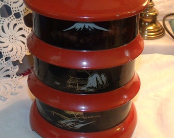 Pagoda stack lacquer ware Japan set, sushi etc, black and red design