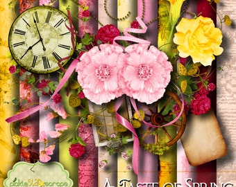 Spring Digital Scrapbook Kit - A Taste of Spring - Seasonal Kit - Printable Backgrounds - 12x12 inch Papers - FREE Quickpage Layout