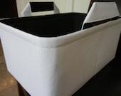 "LG Long Narrow Diaper Caddy 8""x12""x6""(choose COLORS)-No Divider-Toy Bin-Baby Gift-Fabric Storage Organizer-""White/Black Lining"""