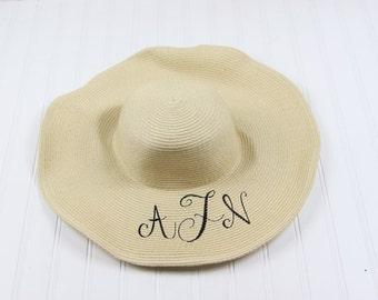 Monogrammed Derby Hat- Pink, Tan, Yellow, or Black Derby Hat
