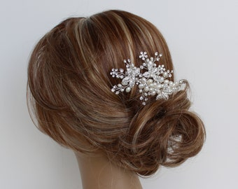 Pearl Bridal Hair Comb, FLORENCE Hair Comb, Bridal hairpiece, Wedding hair accessories, Bridal Headpieces, Rhinestone hair comb bridal