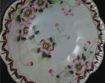 Nippon Bowl with Hand Painted Flowers and Ornate design on edge