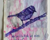 Hand Drawn BlueTit in Blue Ink on Recycled Collage Paper and Paint SALE