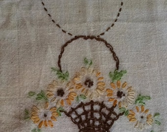 Embroidered Dresser Scarf, Small Table Runner
