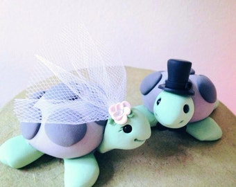 Custom Turtle Wedding Cake Topper Handmade any colors you want