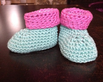 Crochet Baby Booties, pink and mint green, 6-12 month